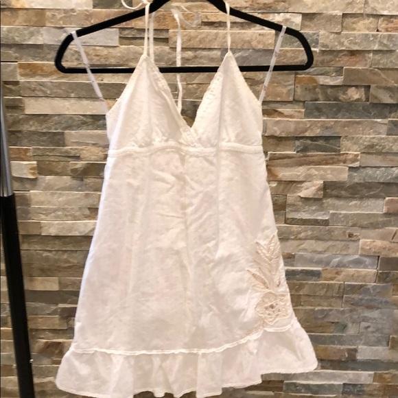 Dresses & Skirts - White, cotton sundress with khaki flower design